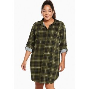 Torrid Green Plaid Button Front Long Sleeve Dress